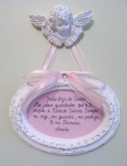 Quadro com oração do santo anjo em gesso R$28,00