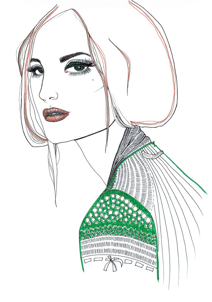 Illustrator: Emmelie Strand  Inspiration: Fashion magazine Technique: Black inc and promarker