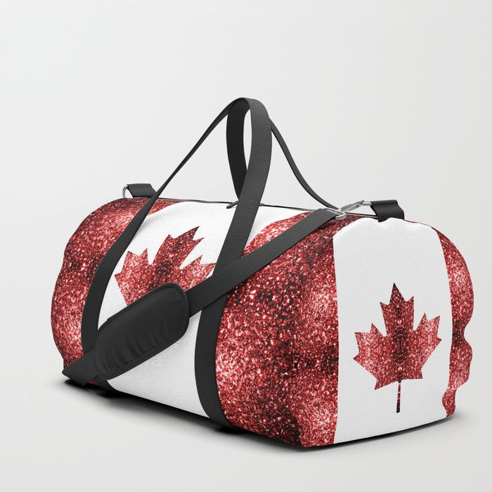 Buy Canada flag red sparkles Duffle Bag by #PLdesign #style #fashion #accessories @Society6 Worldwide shipping available at Society6.com. Just one of millions of high quality products available.