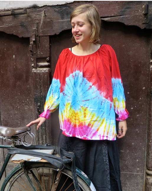 The more colourful, the better. Right? Tie dye top made in the Kathmnandu valley of Nepal #hippy #hippie #hippieclothing #tiedye #tops