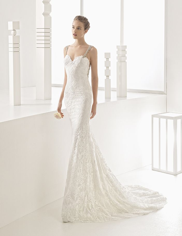 Nagore - Embroidered tulle column dress with sweetheart neckline with straps and extra-low jewelled butterfly back with frosted beading, in ivory.