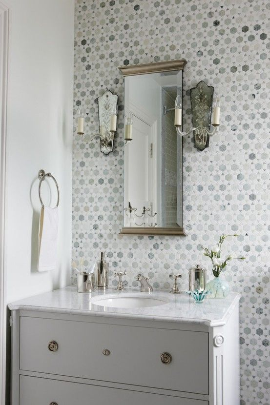 Sunflower Carrara Thassos Tile, Transitional, Bathroom, Sarah Richardson  Design Stunning Bathroom With White Bathroom Vanity With Marble Top, Mirror  Flanked ...