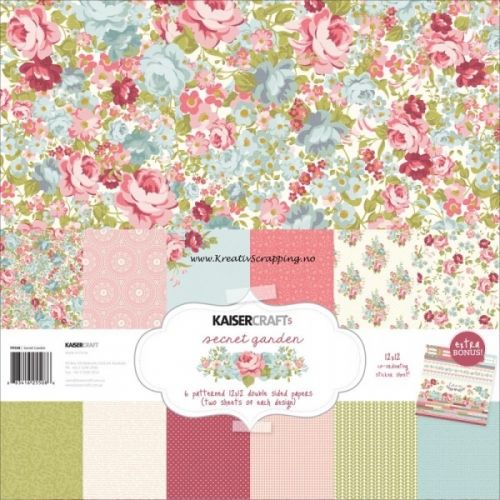 """KAISERCRAFT - PAPER PACK PK477 - SECRET GARDEN - 12x12 Inneholder 12 dobbeltsidige mønsterark, pluss 1 ark med klistremerker. Kaisercraft-Secret Garden Paper Pack. The perfect addition to your paper crafting projects and more! This package contains twelve 12x12 inch double-sided sheets in six different designs (two of each) and one 12x12 inch sticker sheet. Photo friendly.    Includes 6 double-sided designs with 2 sheets of each plus a bonus 12""""X12"""" coordinating sticker sheet."""