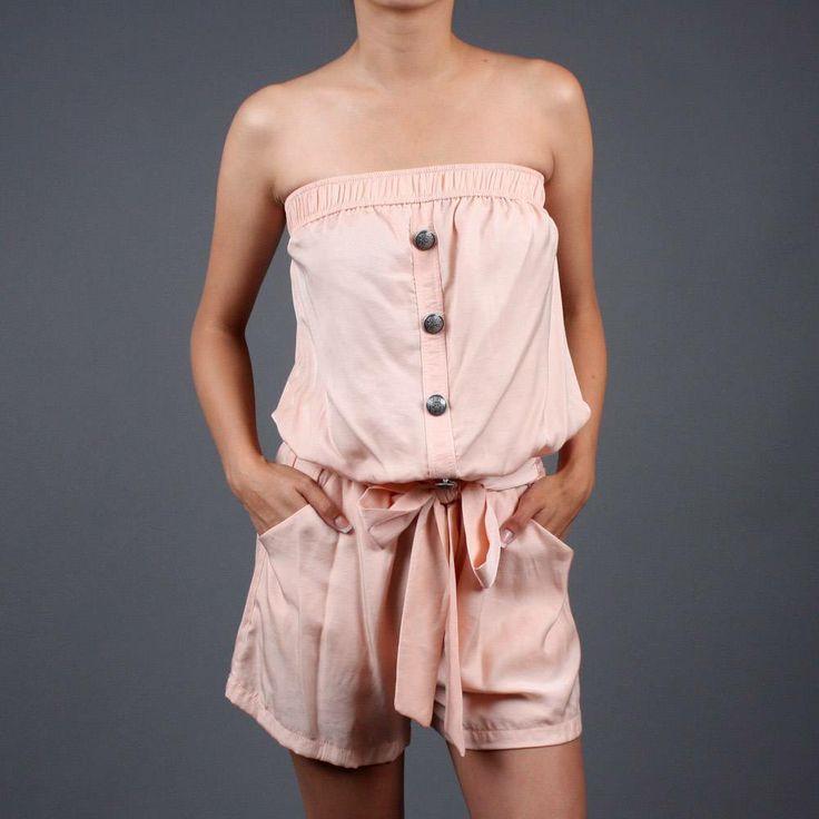 Nautical Look Women's Clothing | Peach Button Strapless Tube Nautical Beach Romper | 49385