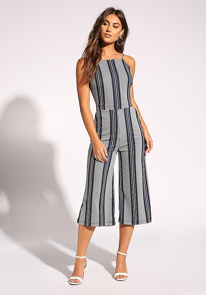 a98bc558deba Navy Pinstripe Open Back Cropped Jumpsuit in 2018