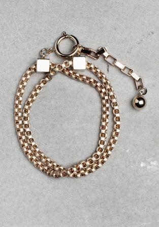 & Other Stories - twin chain brass/ zinc bracelet
