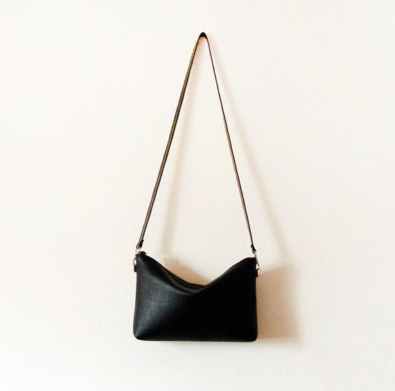 Ships next day Black leather crossbody bag with zipper