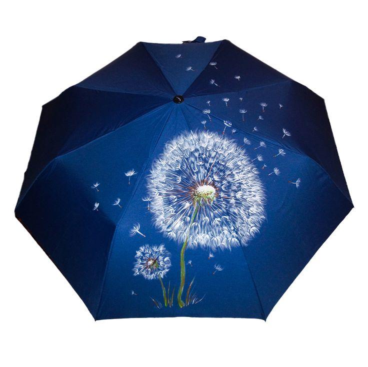 Зонт Одуванчик купить в Санкт-Петербурге #зонт #зонтик #umbrella #parasol #design #спб #россия #роспись #хендмейд #handmade #рисунок #drawing #draw #style #styling #складной #дизайнерский #заказ #крутой #черный #дождь #прикольный #подарок