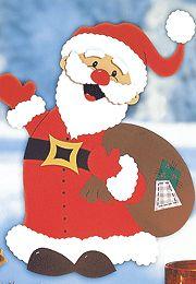 Fensterbilder basteln: Weihnachtsmann basteln