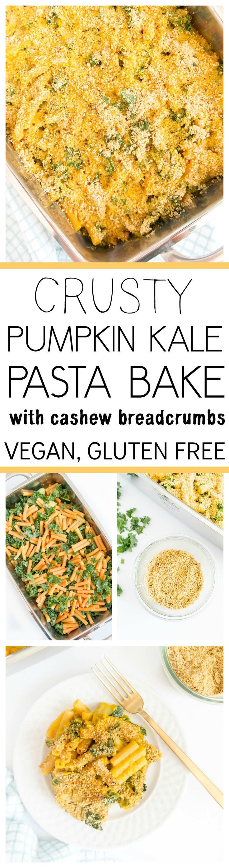 """Crusty Pumpkin & Kale Pasta Bake. Vegan and Gluten Free. Made with protein rich lentil pasta, in the creamiest savory Pumpkin Sauce, with veggies and kale baked in. Topped with grain-free cashew """"breadcrumbs"""" for a crusty topping! #vegan #pumpkin #pasta #bake"""