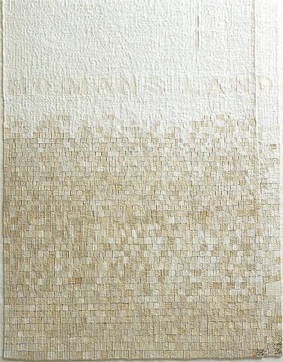 'No Mans Land', (detail)  Sue Lawty  2004  Linen, raphia, hemp, cotton with Bazaart