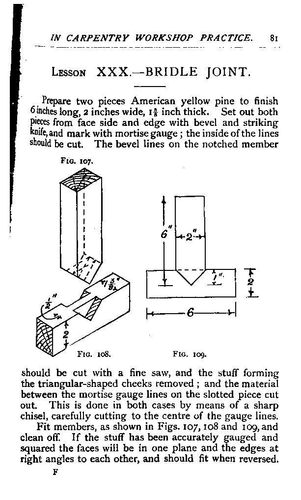 1896 tesárske spoje, nástroje Forty Lessons in Carpentry Workshop Practice