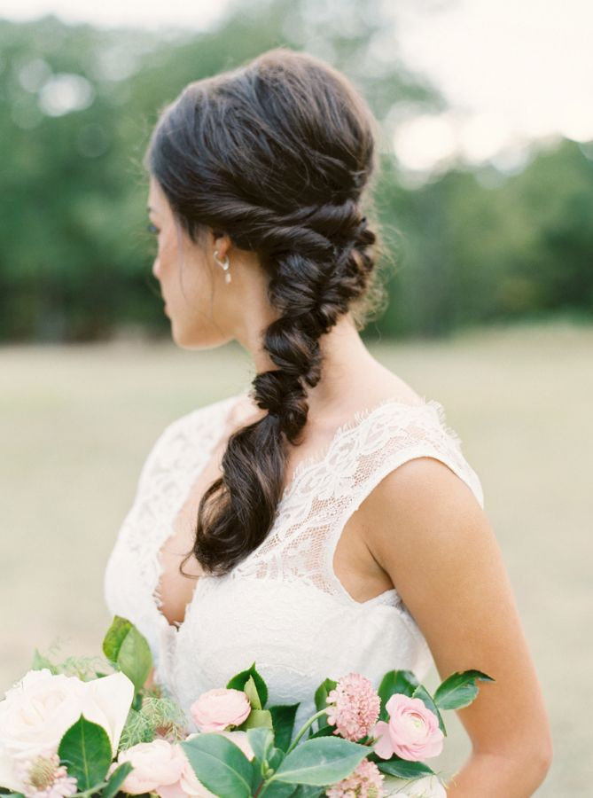 Twisted french braid: http://www.stylemepretty.com/2016/01/01/pantone-rose-quartz-bridal-inspiration-shoot/ | Photography: Tenth & Grace - http://www.tenthandgrace.com/
