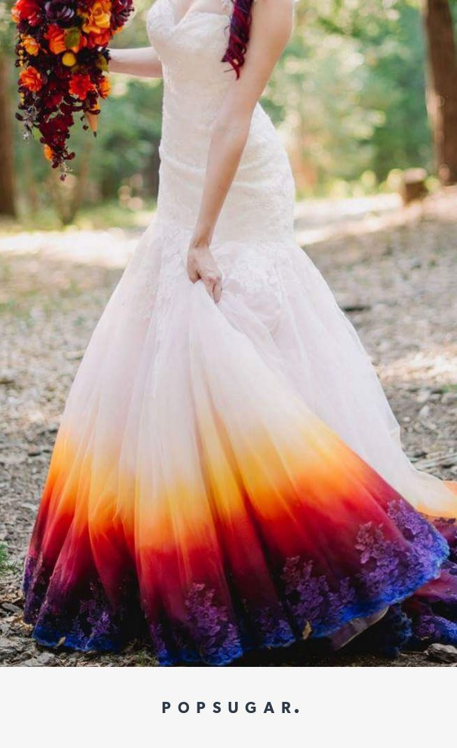Discount Modest ful Rainbow Wedding Dresses A Line Sweetheart Off ...