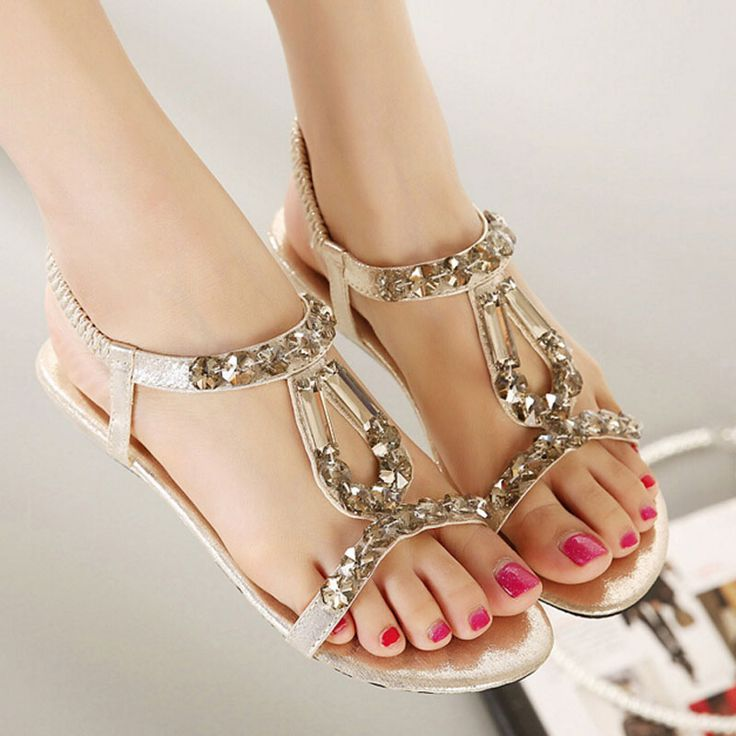 ... Bohemia Women Wedges Sandals 2016 Sweet Rhinestone Women Summer Sandals Soft Slippers Woman Size 34~