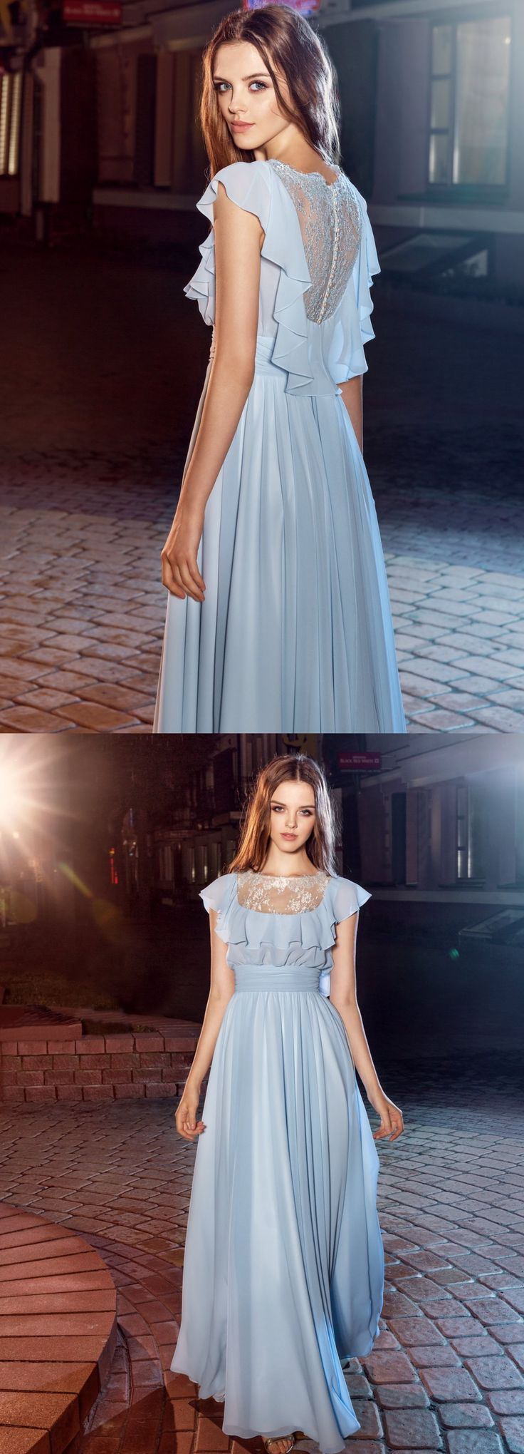 Style #203 from the Nightglow collection, ruffled top sheath dress with illusion lace neckline and back, available in sky-blue, ivory, white, blue and nude. #papilioboutique #eveningwear #fashion #blacktie #promdress #graduation