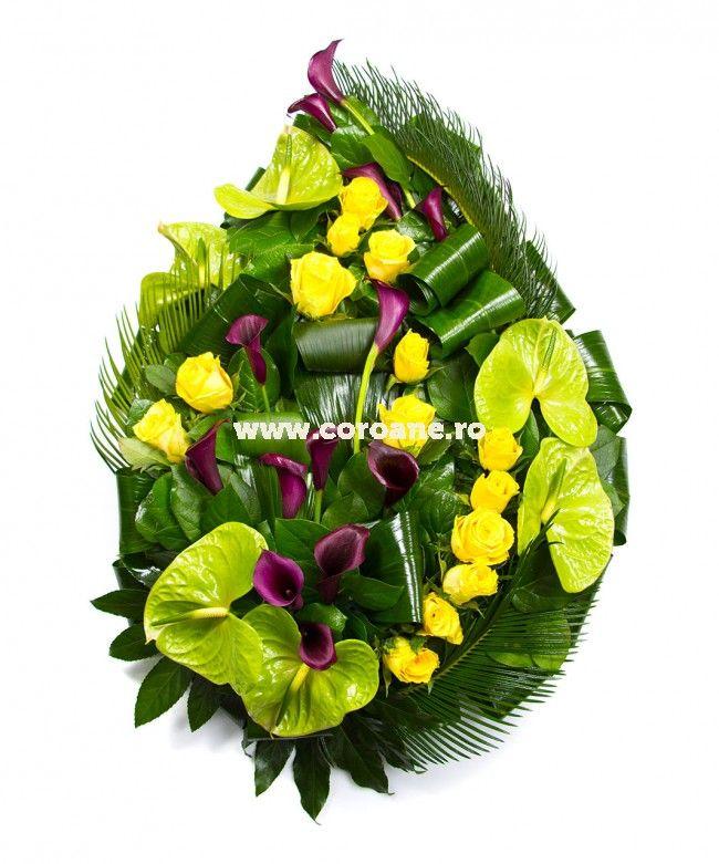 Coroana funerara - anthurium si cale! Flori pretioase pentru cei dragi tie!