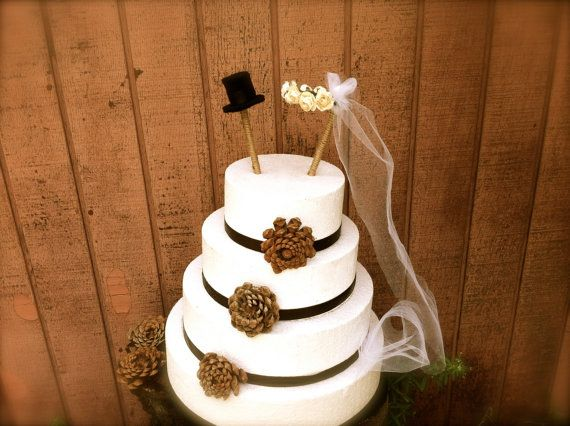 Rustic wedding cake topper country fall weddings by MomoRadRose, $24.00 ahhhhhhhhh, so cute with the veil!