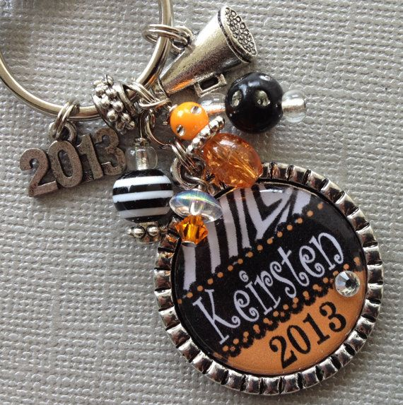 PERSONALIZED keychain -Senior School Spirit, class of 2013, graduate,School Colors,cap charm, high school, senior gift, graduation on Etsy, $19.50