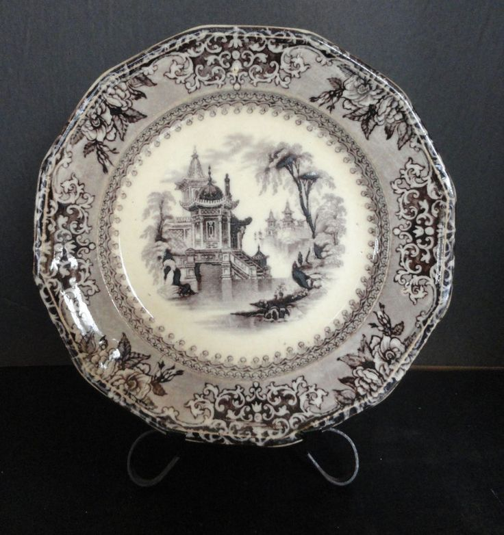 "J. Clementson Sydenham Flow Mulberry Ironstone  Plate Corea   9.5""   c 1850 