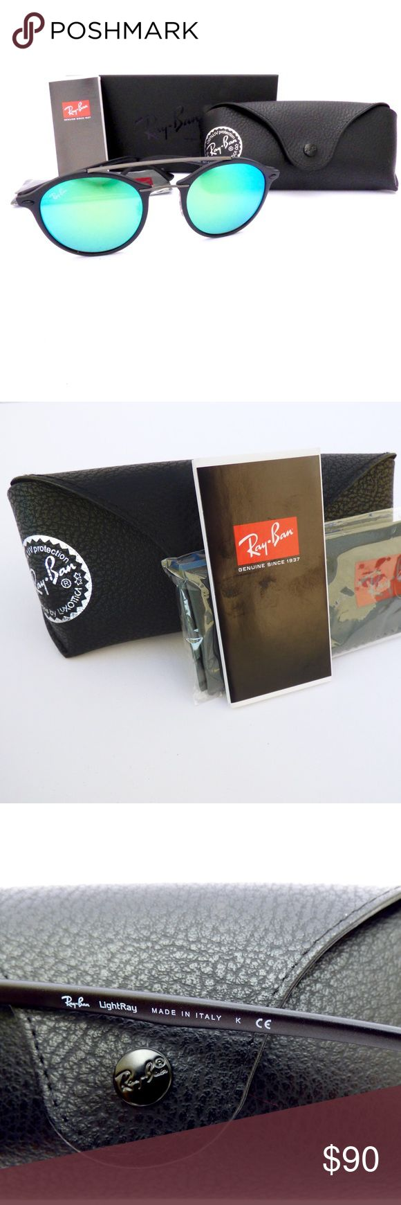 100% Authentic Ray-Ban LightRay Round Sunglasses! Ray-Ban Unisex LightRay Round Sunglasses RB4266 601-S/3R 49/21 140 3N  The LightRay combines advanced technology and innovative material to creat featherweight stylish iconic sunglasses!  100% Authentic. Made in Italy. Covered Ray-Ban Limited Lifetime Warranty.  Model:RB4266 601-S/3R Eye:49 Bridge:21 Temple:140 Lens Tech:Anti-Reflection Lens Color:Green Mirrored Style:Round Frame Color/Material:Black/Plastic  Comes with Black Leather Case…
