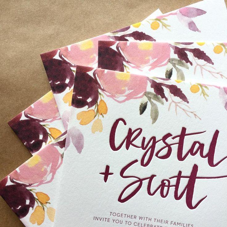 1 colour letterpress with hand-painted florals - wedding invitation - australian design. (@bettertogetherpaper)