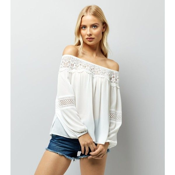 New Look White Crochet Trim Bardot Top (£23) ❤ liked on Polyvore featuring tops, winter white, new look tops, ivory crochet top, white top, ivory top and crochet tops