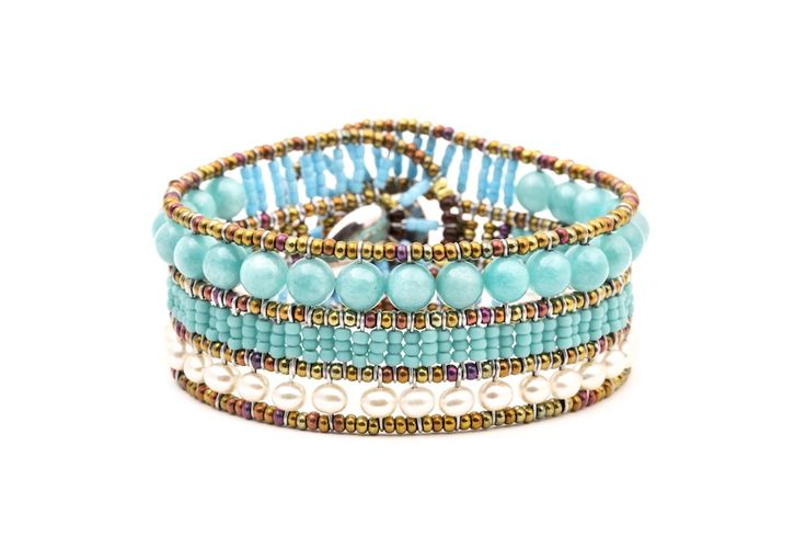 Bracelet with Amazonite, Murano Glass, Turquoise, Pearl and signature silver fastening (#1441).