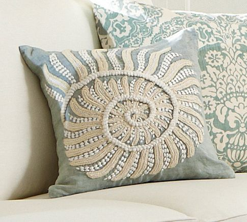 Blue Nautilus Embroidered Pillow Cover | Pottery Barn  Love this light blue color...