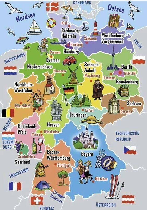 Deutschland - Nachbarländer, Bundesländer und Hauptstädte