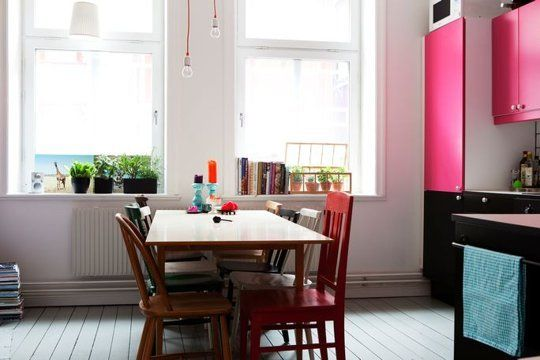 Kitchen Colors: Hot Pink, Black, and Teal — Kitchen Inspiration