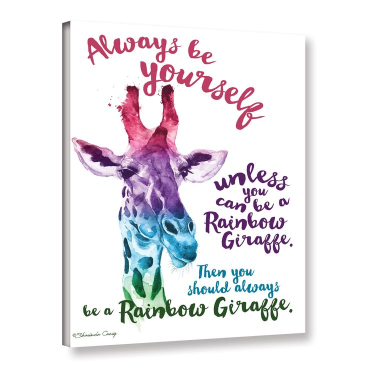 Shawnda Craig (Eve)'s 'Rainbow Giraffe' Gallery Wrapped Canvas is a stunning reproduction featuring a motivational quote with an abstract giraffe. A wonderful conversation piece that will compliment a                                                                                                                                                      More
