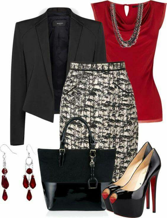 Classic pieces I'd wear for work, except the super high platform heels.  Black/red combo is a go-to for me if I can't decide what to wear in the morning.