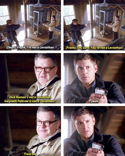 [gifset] 7x11 Adventures In Babysitting - I loved the banter between Dean and Frank!
