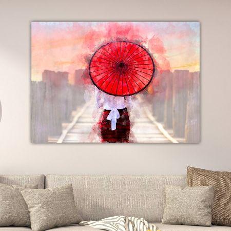 Κοπέλα με κόκκινη ομπρέλα πίνακας σε καμβά