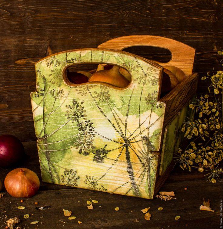 """Купить Ящичек для лука """"Укропная грядка"""" - рустик, разноцветный, ящик для овощей, ящик для хранения"""