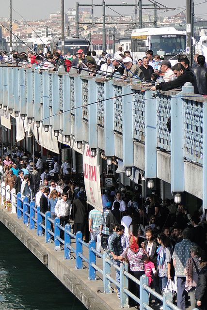 Galata Bridge with Anglers and Pedestrians - Istanbul