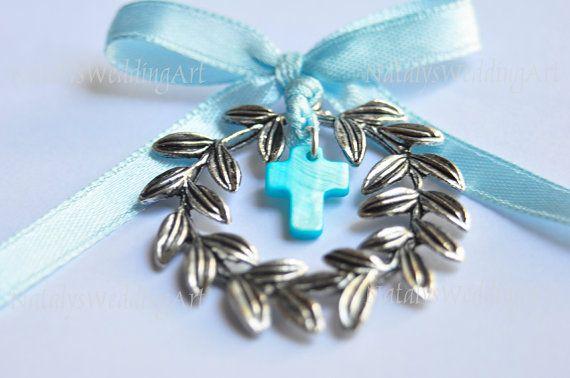 10 Martirika Olive wreath Blue Witness pins / Martyrika / Blue Witness pin Greek Laurel Wreath Orthodox Baptism by NatalysWeddingArt
