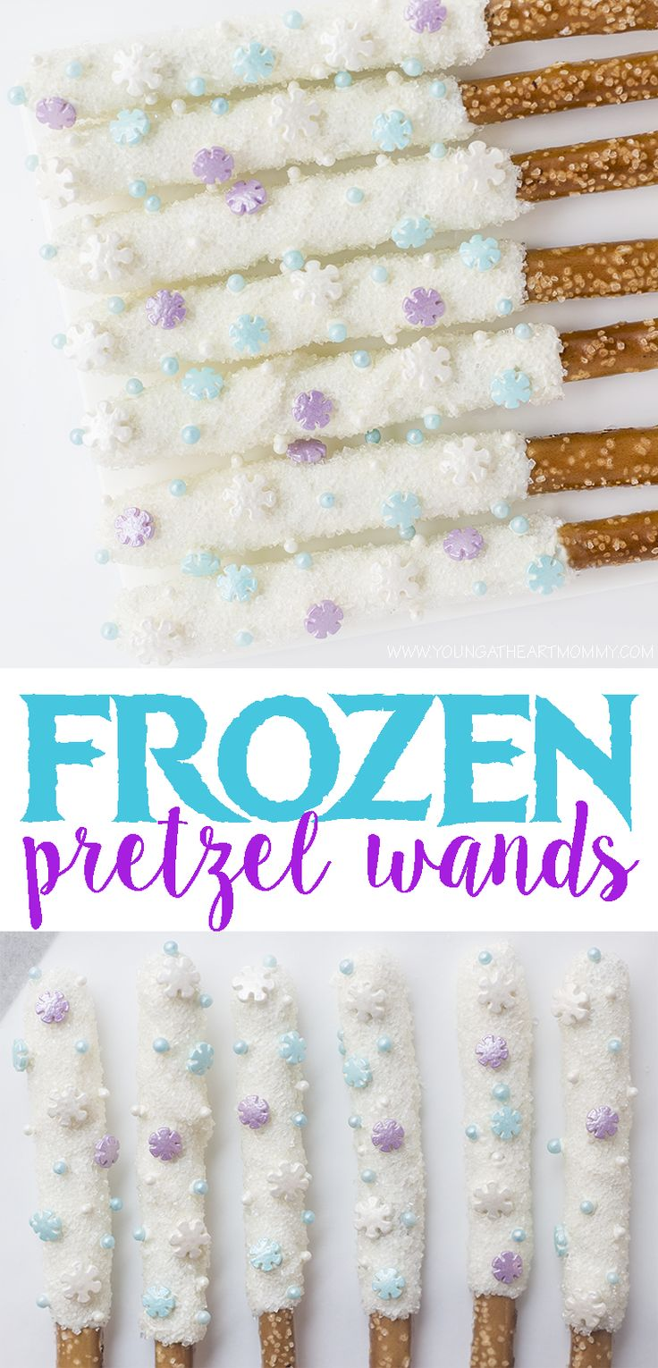 Disney-inspired FROZEN pretzel wands dipped in chocolate and covered in sugar crystals. #DisneySMMC