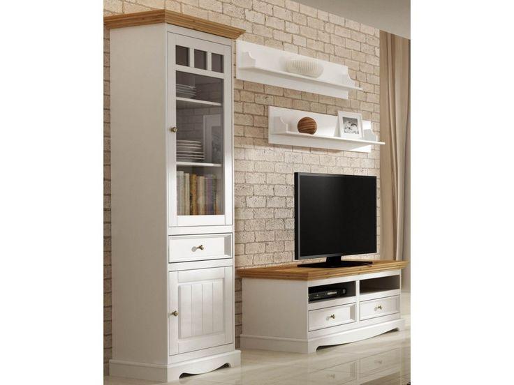 TV komoda Belluno Elegante, dekor biela / dub, masív, borovica