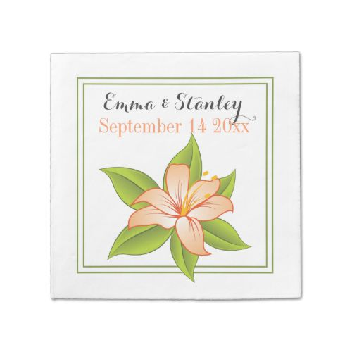 Elegant coral orange lily floral wedding custom paper napkins