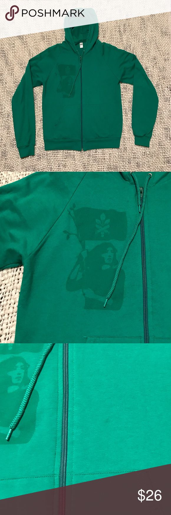 American Apparel hoodie green women's size M Like new only worn twice American Apparel hoodie. Never washed! Beautiful bright green size M women's. There is the tiniest oil spot to the left of the screen print on the front. Fits true to size M. Tops Sweatshirts & Hoodies