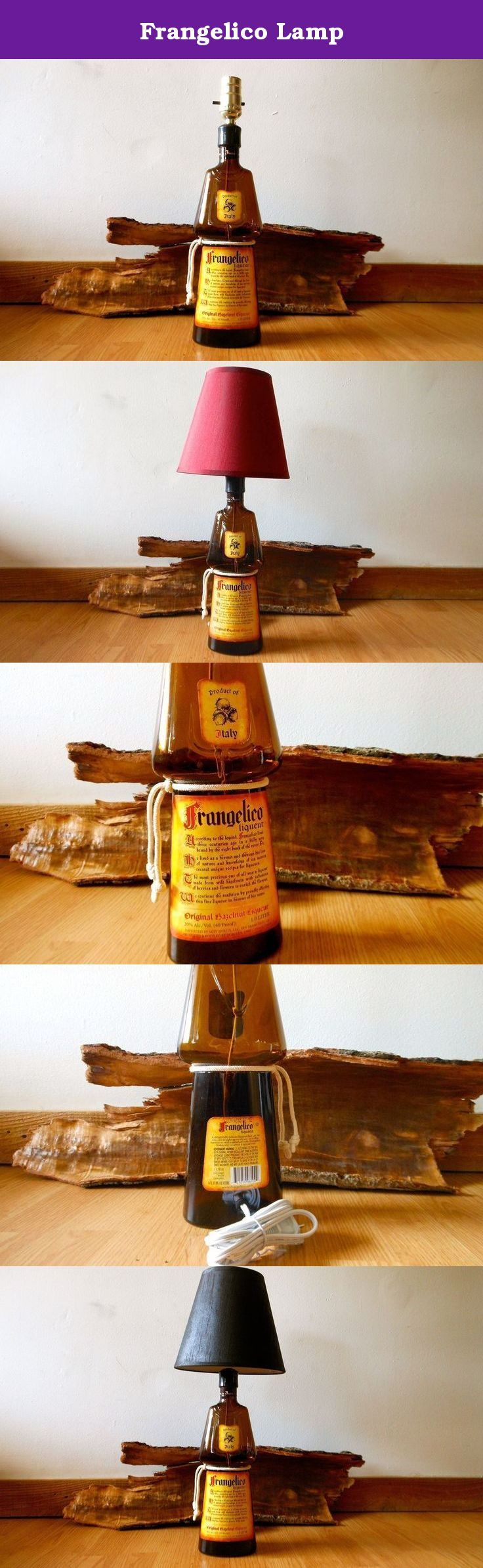 Frangelico Lamp. This lamp will make the perfect gift for the person who has everything. It has great character and starts conversions. The Frangelico lamp is made from a 1L glass liquor bottle. A white cord with a rubber grommet is stringed through the back bottom of the bottom. Black, brown or red lamp shade included.