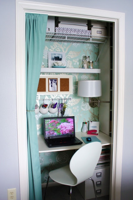 Turn your closet into a organized desk area good for for Transform small closet space