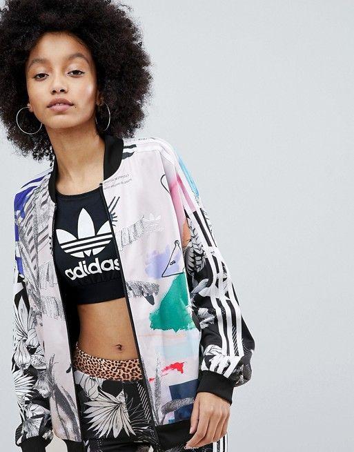 adidas Originals X Farm Multi Print Bomber Jacket