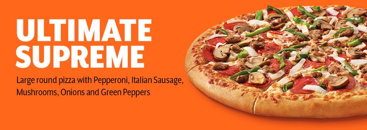 Ultimate Supreme Pizza is loaded with Pepperoni, Italian sausage, Mushroom, Onions and Green Peppers
