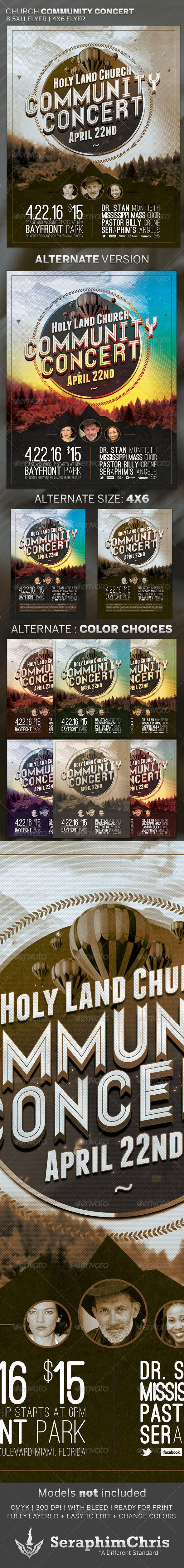 Church Community Concert: Flyer Template — Photoshop PSD #fall #vintage • Available here → https://graphicriver.net/item/church-community-concert-flyer-template/4363052?ref=pxcr