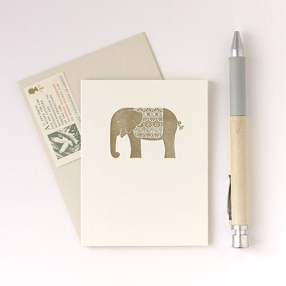 Elephant letterpress card  hand made greeting cards by letticashop