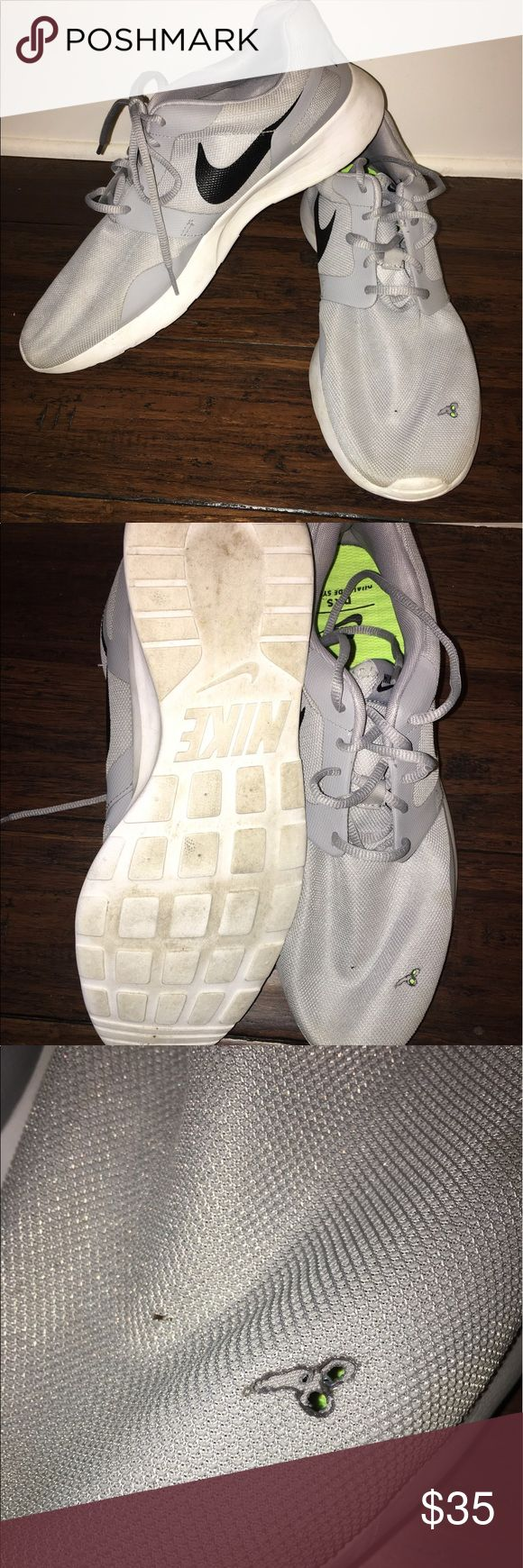 Gray Nike Shoes Size 13 Gray Nike Shoes Size 13 similar to Roshe Fair Condition has a burn mark for campfire Nike Shoes Athletic Shoes
