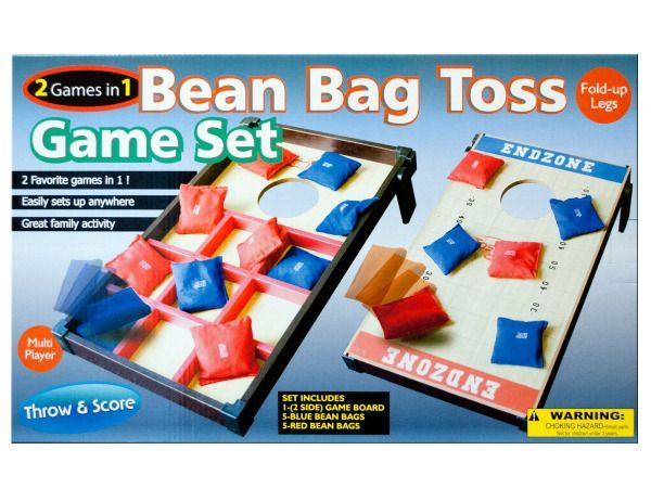 "2 In 1 Bean Bag Toss Game Set, 3 - Great for families and parties, this 2 In 1 Bean Bag Toss Game Set features a double-sided wood and plastic game board with fold-up legs and the games Toss-Tac-Toe and Toss n' Score. Easily sets up anywhere! For multiple players. Includes two-sided game board, 5 blue bean bags and 5 red bean bags. Game board measures approximately 20"" long x 12"" wide. For ages 3 and up. Instructions sheet included. Comes packaged in an individual box. Box measures…"